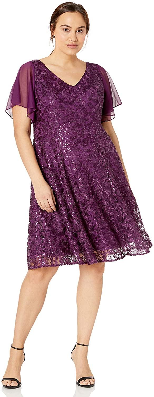 Alex Evenings Women's Plus Size Short Flutter Sleeve Dress