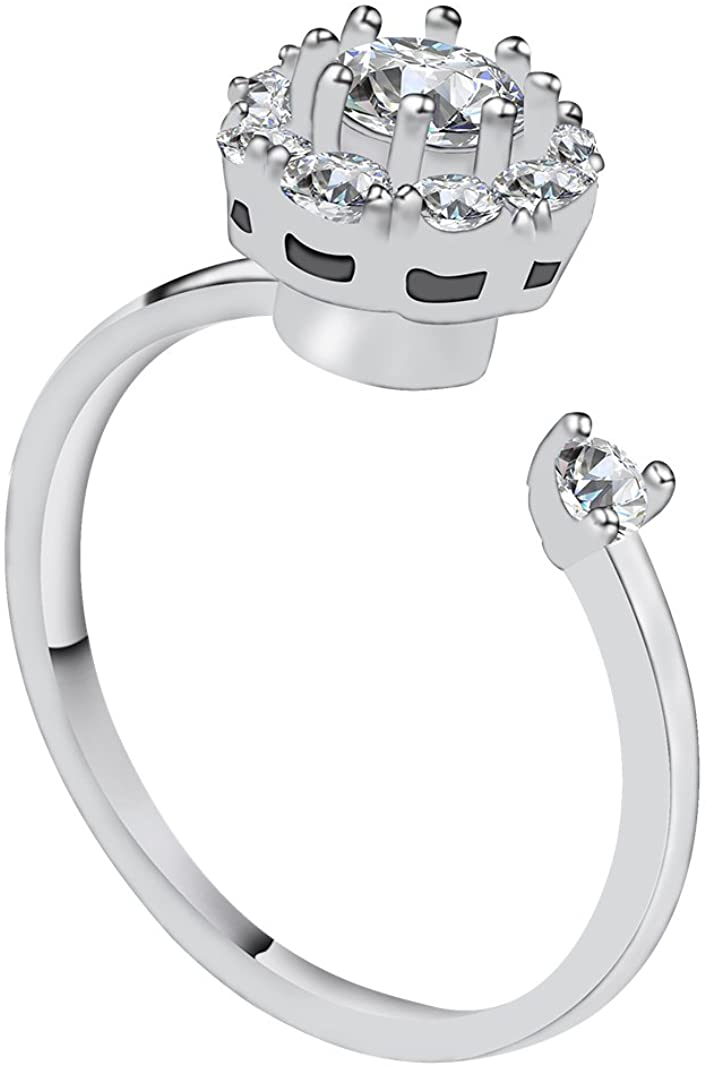 Vesungimey Anti-Anxiety Rotating Engagement Wedding Cubic Zirconia Ring for Women,Surprise Gifts Jewelry for Relieving Boredom ADHD, Anxiety,Autism