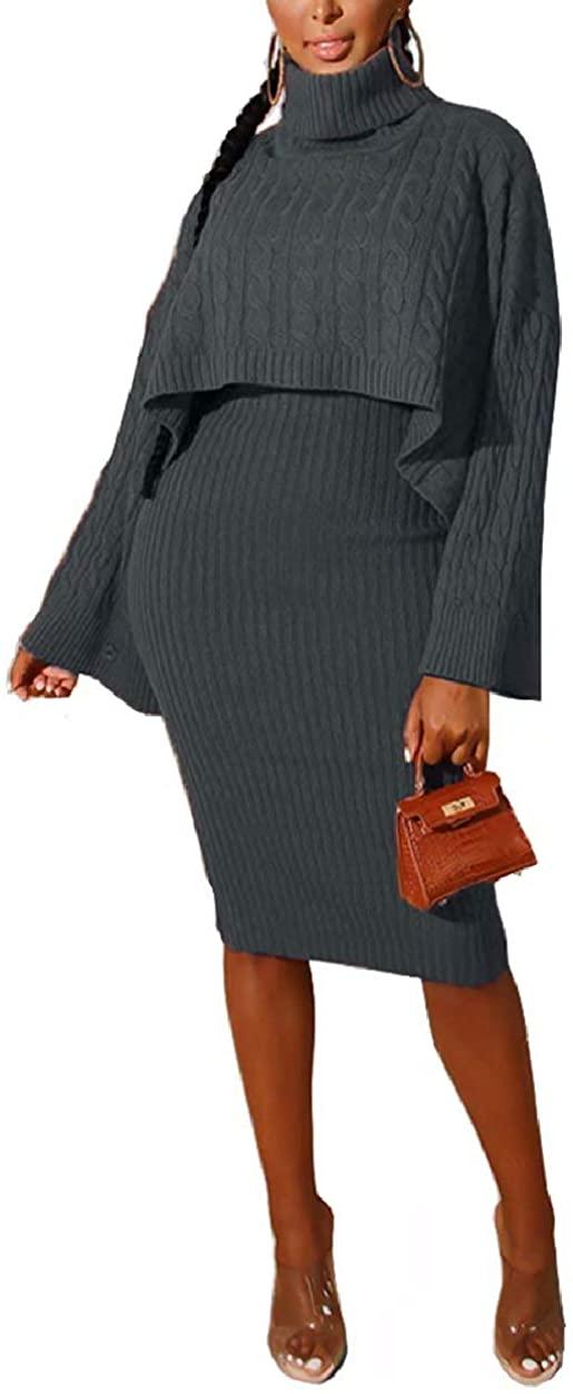ThusFar Women's 2 Piece Sweater Dress Sets Loose Turtleneck Sweaters Shawl Poncho Cape and Bodycon Tank Midi Dresses