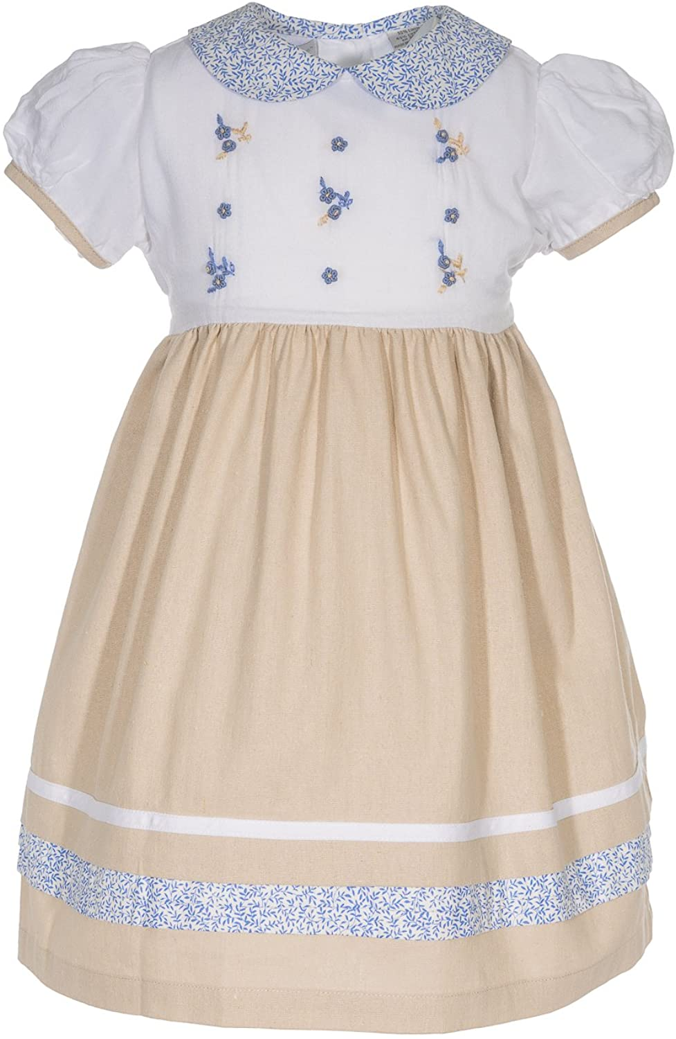 Carriage Boutique Girls Dress Tan and Blue Embroidered Flowers Short Sleeve Dress
