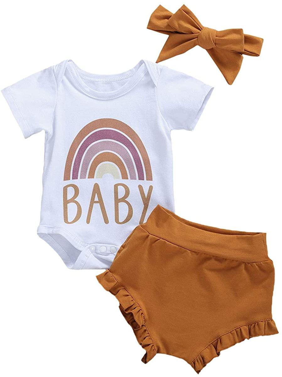 Baby Short Sets Girls Rainbow Letter Print Short Sleeve Bodysuit Tops + Ruffle Cuffs Shorts 2PCS Infant Girls Outfits Summer