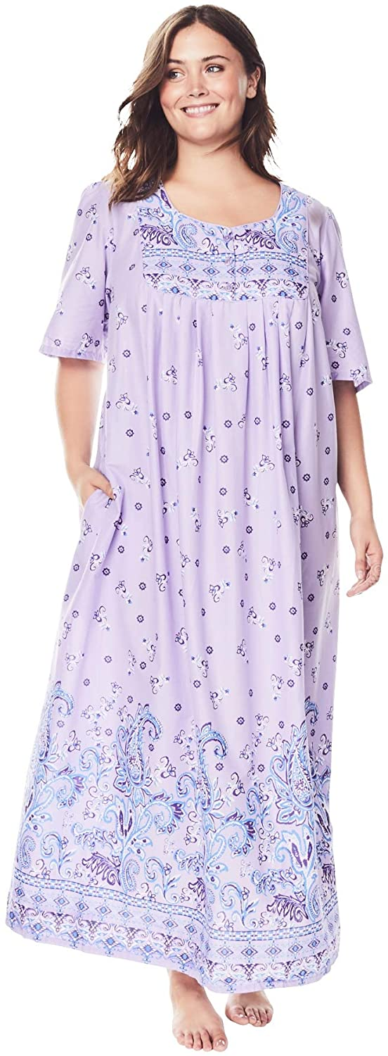Only Necessities Women's Plus Size Mixed Print Long Lounger Nightgown