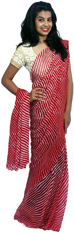 Rajasthani Designer Georgette Rajasthani Red Color Leheriya Saree
