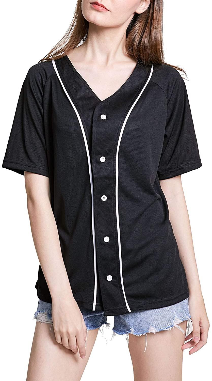 ACEFAST INC Women Baseball Jersey Shirt Button Down Hipster Hip Hop Baseball Tee Shirts