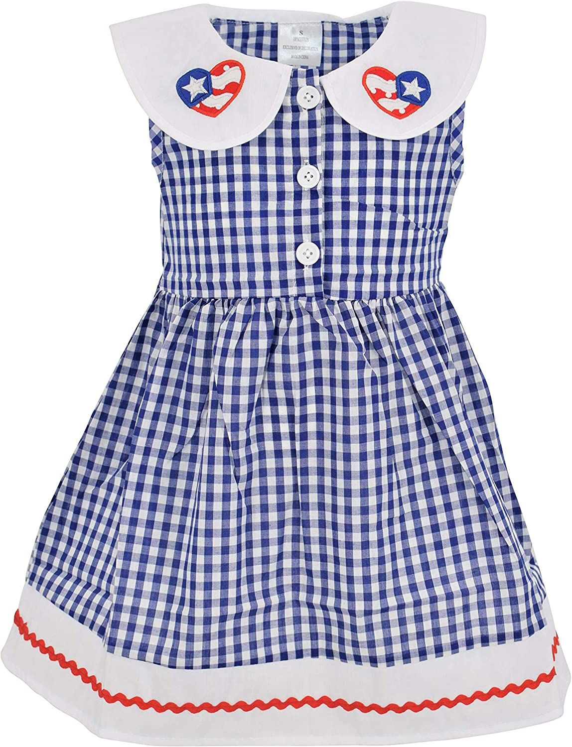 Unique Baby Girls 4th of July Gingham Flag Red White Blue Dress