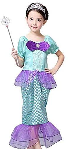 Peachi&Kids Girls Little Mermaid Princess Ariel Costume Girls Dress up Fancy Party Dress 3-8 (110-140) (7-8-140) Green