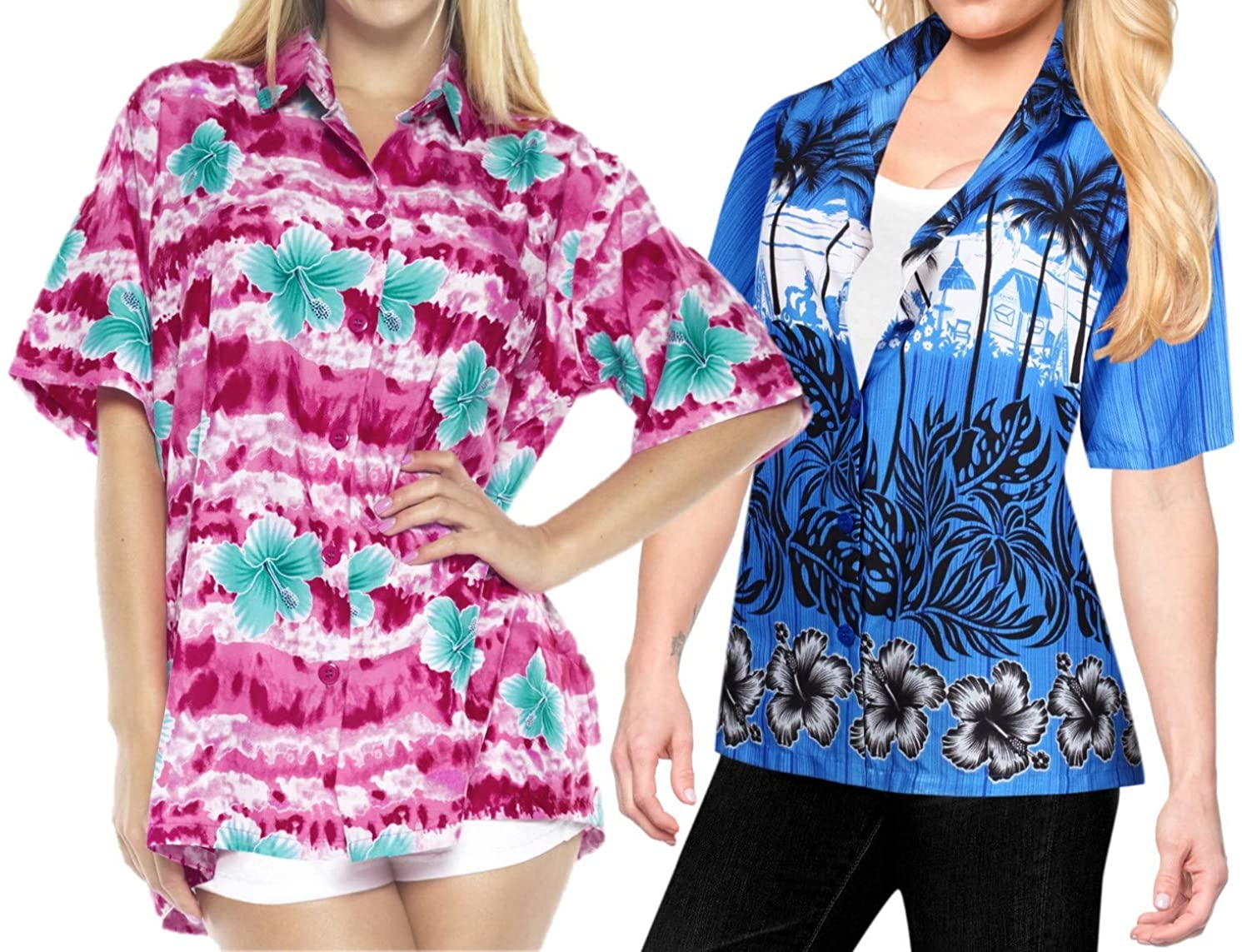 LA LEELA Women's Swim Hawaiian Shirt Beach Aloha Party Short Sleeve Work from Home Clothes Women Beach Shirt Blouse Shirt Combo Pack of 2 Size XXL