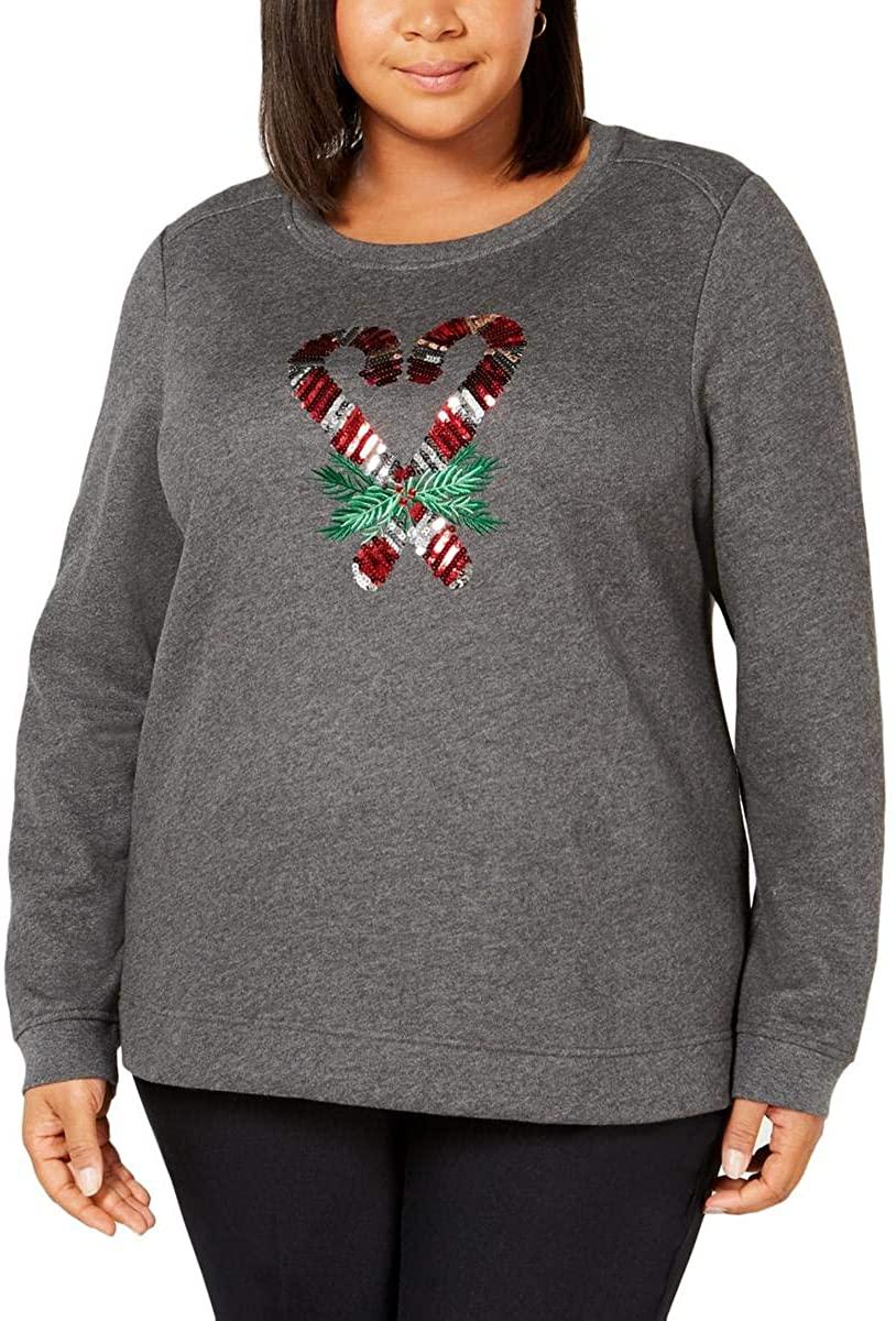 Karen Scott Sport Womens Plus Fitness Activewear Sweatshirt