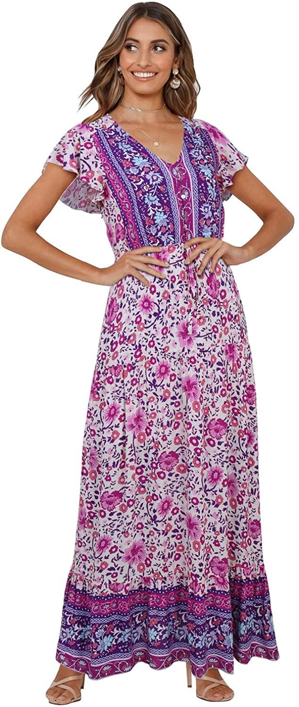 BIUBIU Womens Summer Bohemian Floral Print Short Sleeve V Neck Flowy Boho Beach Party Maxi Dress