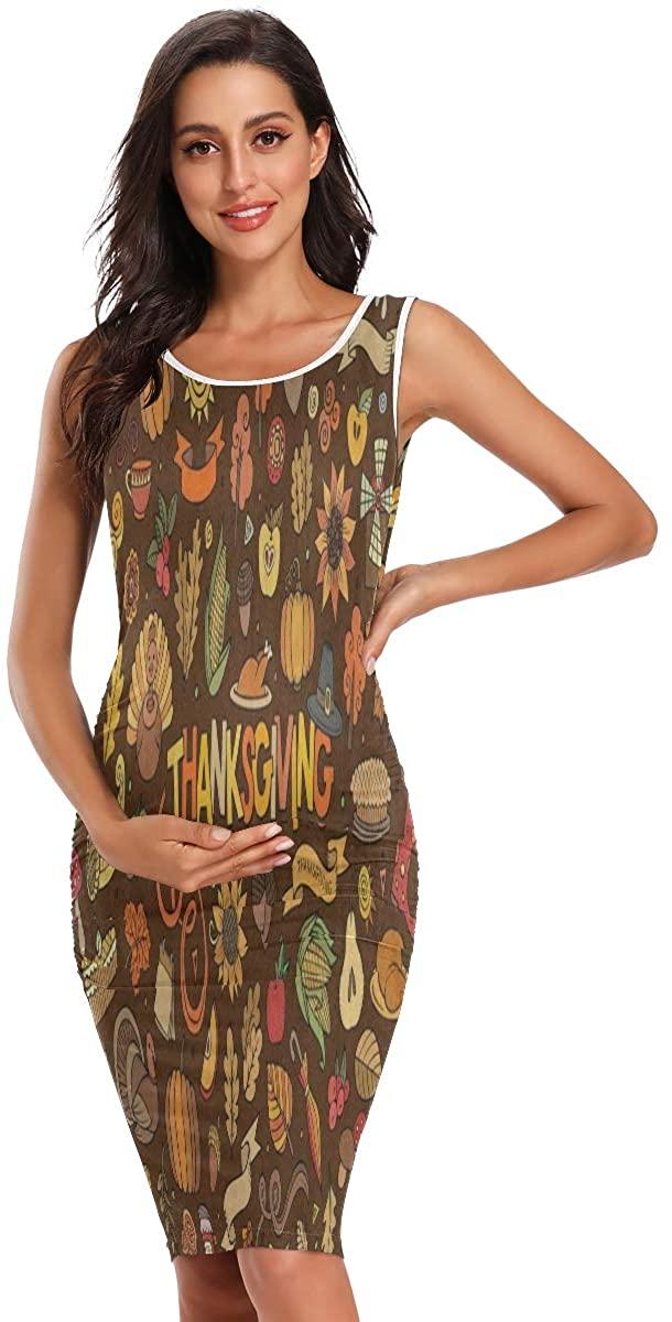 SLHFPX Vintage Owl Turkey Thanksgiving Day Womens Maternity Dresses Casual Pregnancy Dresses Bodycon Midi Mama