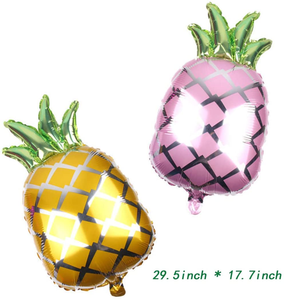 Morndew 2 PCS Summer Time Style Pineapple Foil Balloons for Hawaiian Beach Summer Tropical Themed Party Birthday Party Baby Shower Wedding Party Decorations