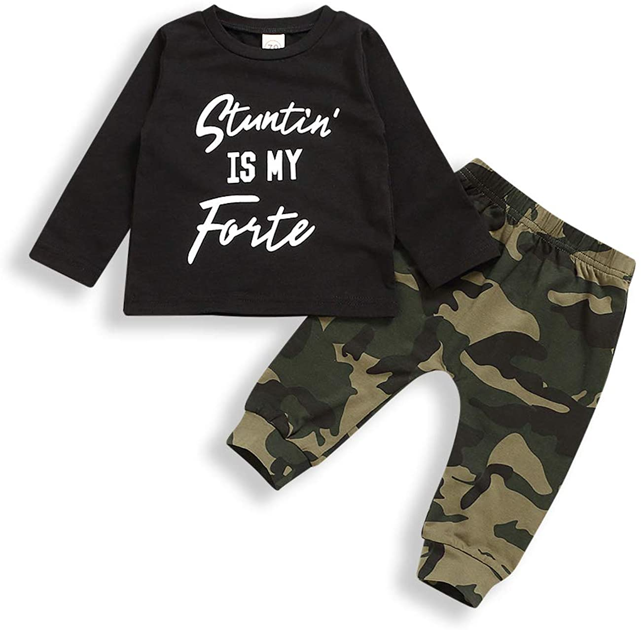 bilison Toddler Baby Boy Clothes Letter Print Hoodie Sweater Shirt Top+Camouflage Long Pant Outfit Set