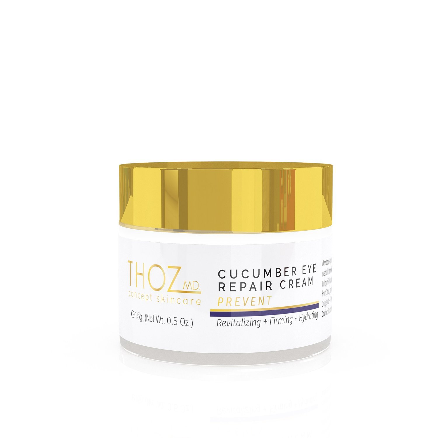 THOZ MD Revitalizing Cucumber Eye Repair Cream - firms and nourishes thin skin around the eyes with anti-aging vitamins, peptides & botanicals, 0.5 oz.