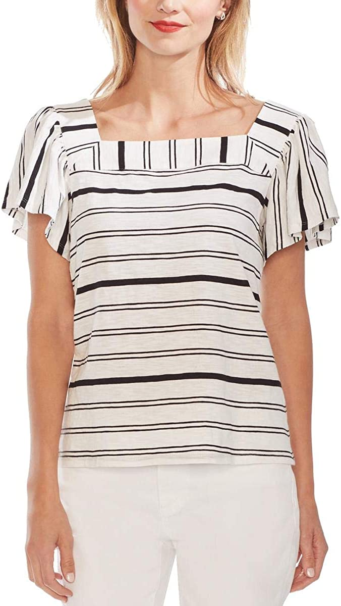 Vince Camuto Womens Cotton Slub Peasant Top
