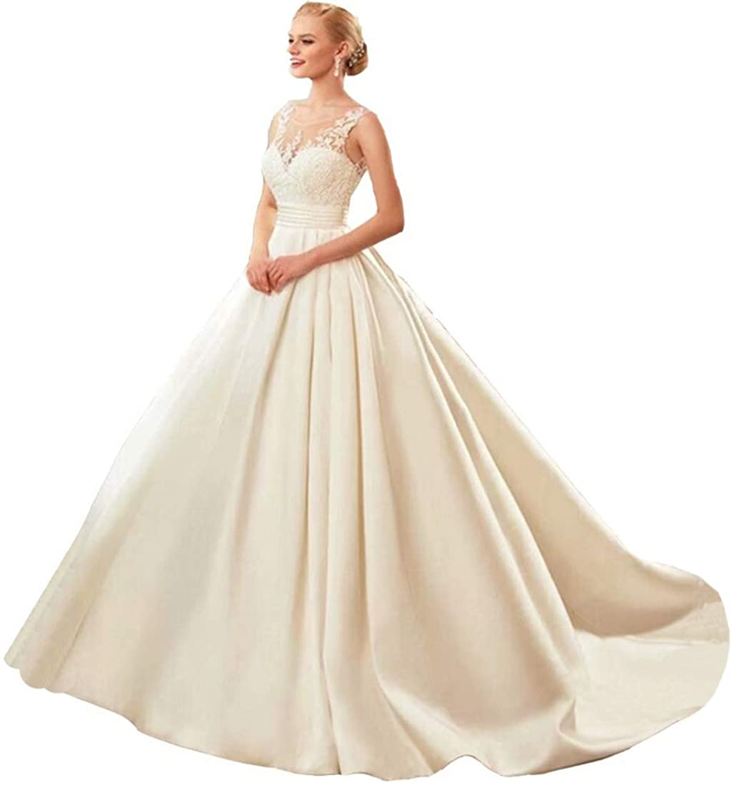 Wedding Dress Sheer Lace Ball Gown Wedding Dresses Satin Wedding Party Dresses with Pockets