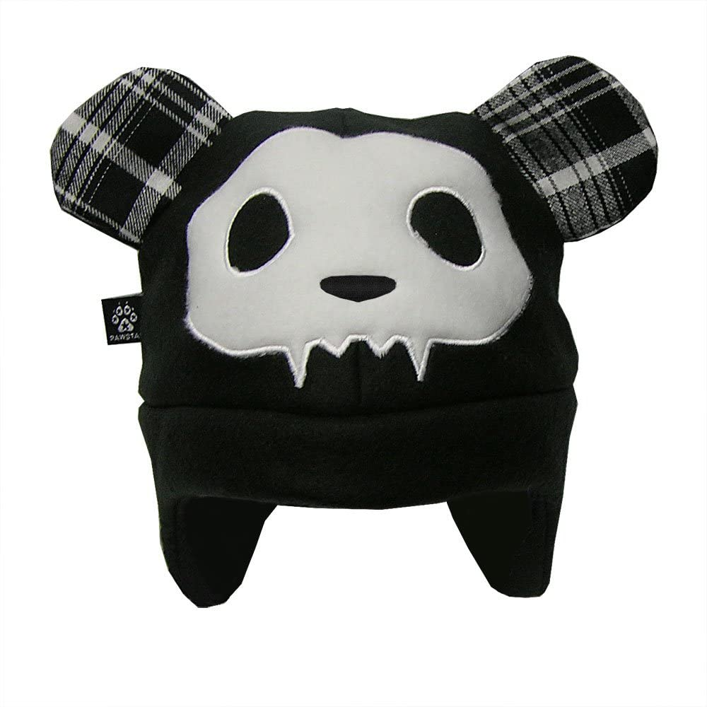 Pawstar Adult's Spooky Bear Teddy Hat Fleece Unisex One Size Black and White