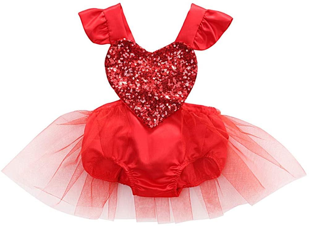 Newborn Baby Girl 1st Valentine's Day Outfit Romper Bodysuit Tops+Tutu Skirt+Sequin Headband Clothes Set