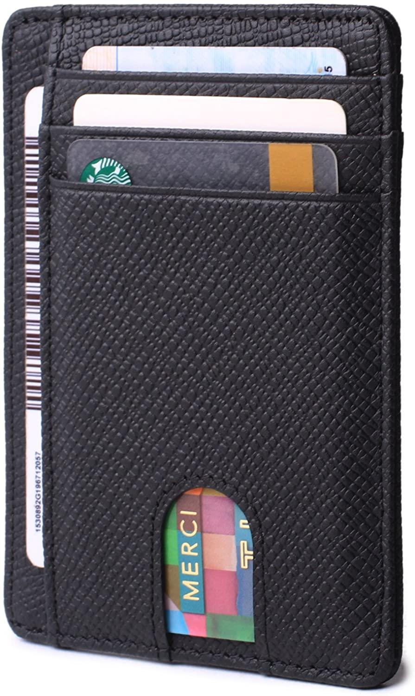 Slim Minimalist Front Pocket RFID Blocking Leather Wallets for Men Women Credit Card Holder