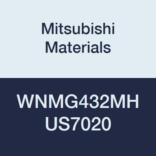 Mitsubishi Materials WNMG432MH US7020 Coated Carbide WN Type Negative Turning Insert with Hole, MH Breaker, Trigon, Grade US7020, 0.5