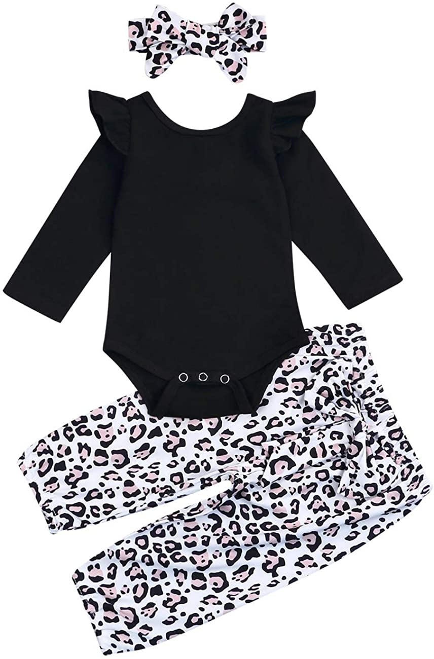 Newborn Baby Girls Outfit Black Ruffled Romper + Leopard Pants with Headband 3Pcs Clothes Set