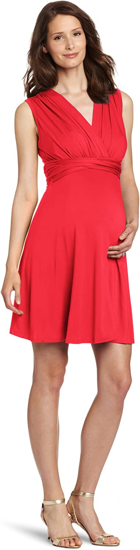 Maternal America Women's Mini Tie Front Maternity Dress