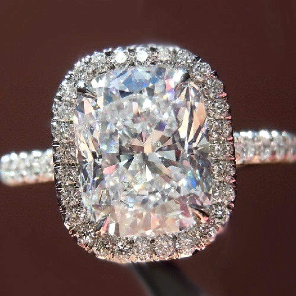 Diamondtresure Lovely Cushion-Cut Moissanite Halo Engagement Ring 14K White Gold Over 3.00Ct