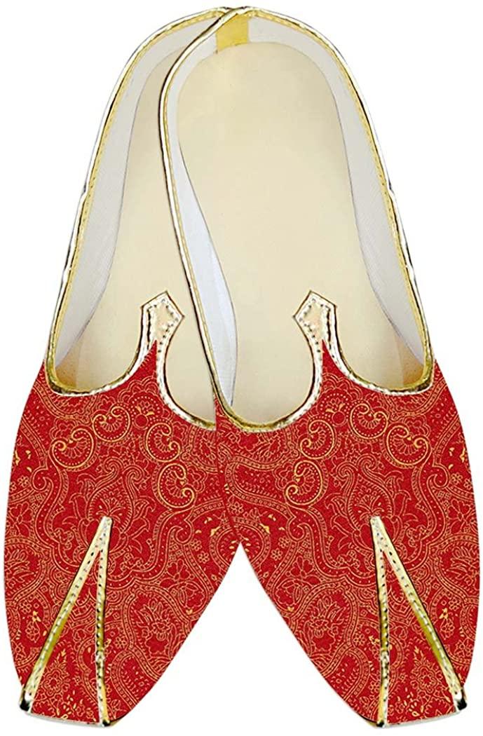INMONARCH Mens Juti Crimson Red Wedding Shoes Sherwani Jute Silk Shoes MJP17086