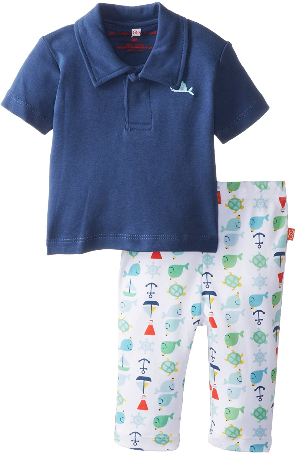 Magnificent Baby Baby-Boys Newborn Nantucket Polo Shirt and Pants Set, Navy Blue, 9 Months