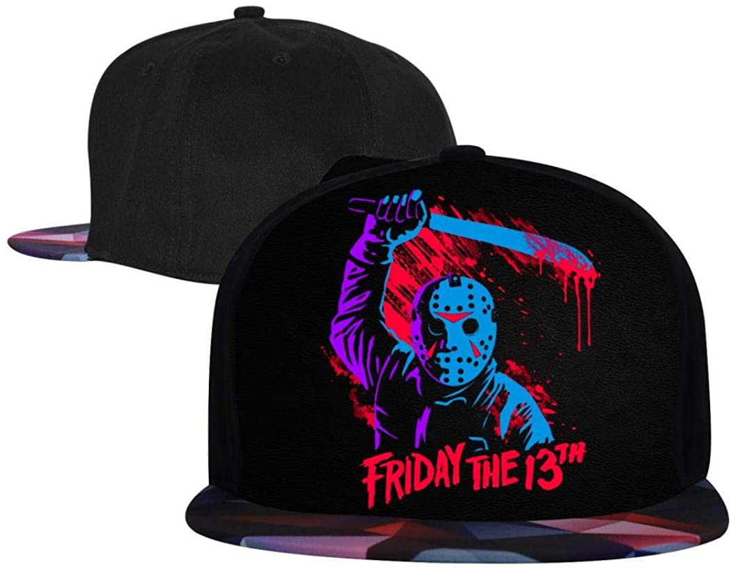 Addsomeing Unisex Snapback Hats Horror Skull Pattern Anime Cartoon Printed Adjustable Hip Hop Flat Bill Baseball Trucker Sun Visor Cap Red