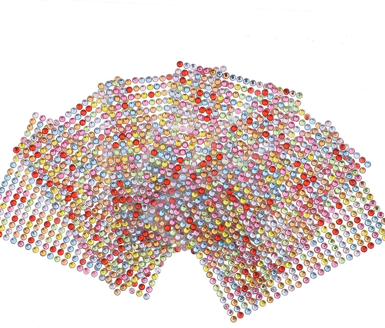 Self-Adhesive Rhinestone Gems 4.5mm Multi Colors Bling Crystal Gems Flatback Craft Jewels Pack of 2622