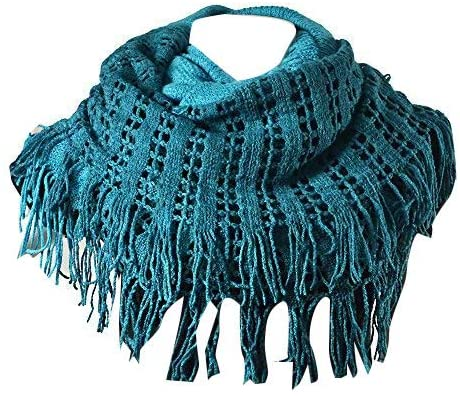 Purse Babe Premium Winter Two-toned Versatile Net Knit Infinity Snood Tube scarf With Fringe