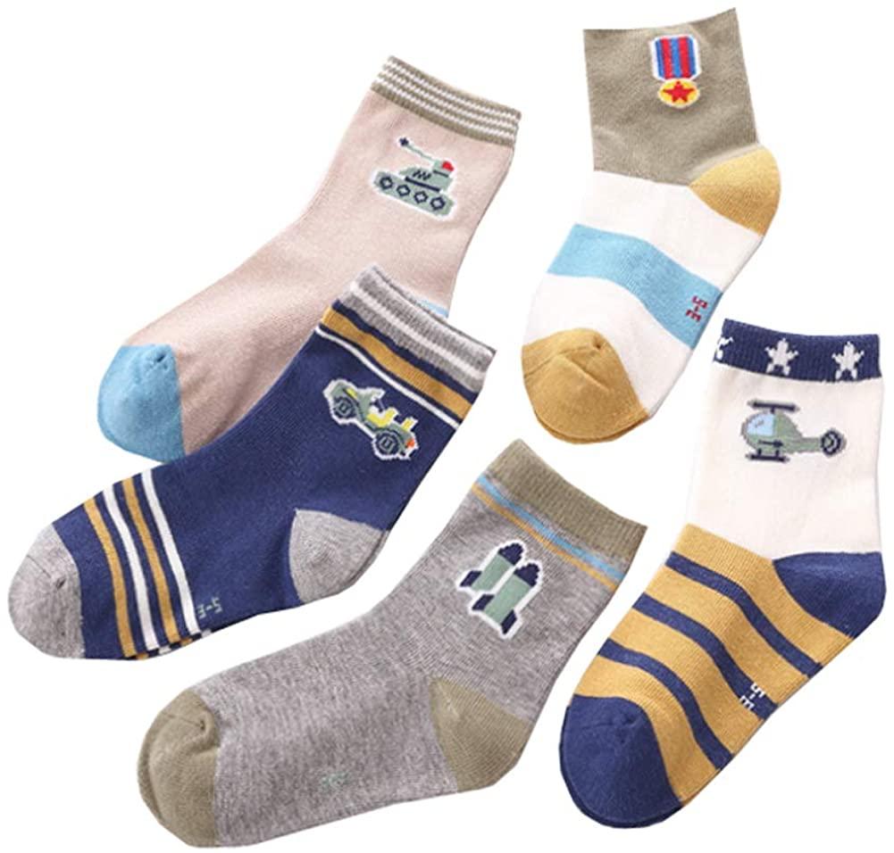 Age 2-12 Boy's Colorful Pattern Dress Socks Playful Ankle Socks 5 Pairs