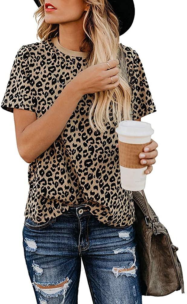 SportsWell Women Casual Cute Shirts Crew Neck Leopard Print Tops Short Sleeve Soft Blouse