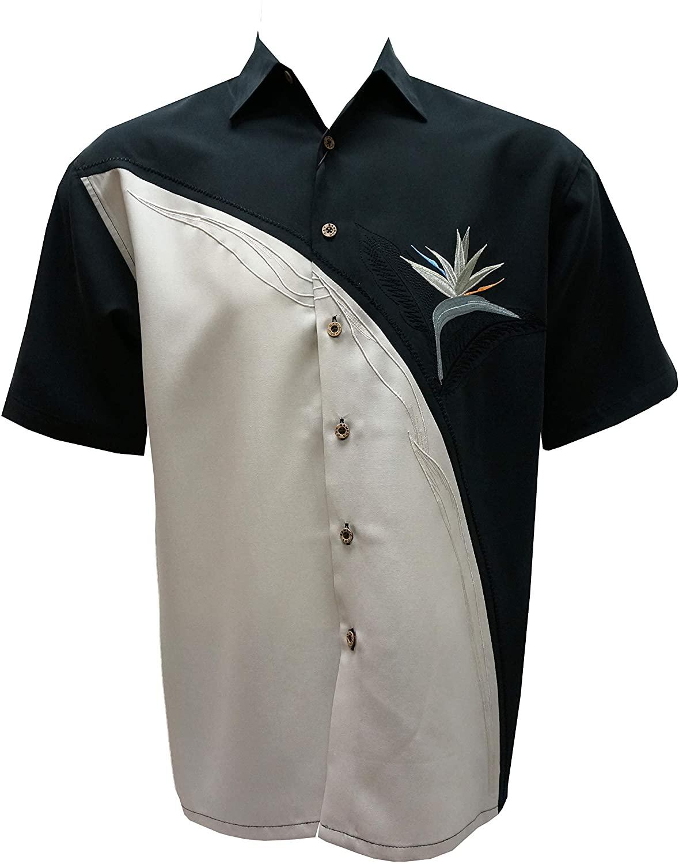 Bamboo Cay Men's Crescent BOP Flower Embroidered Black Shirt (X-Large, Black)