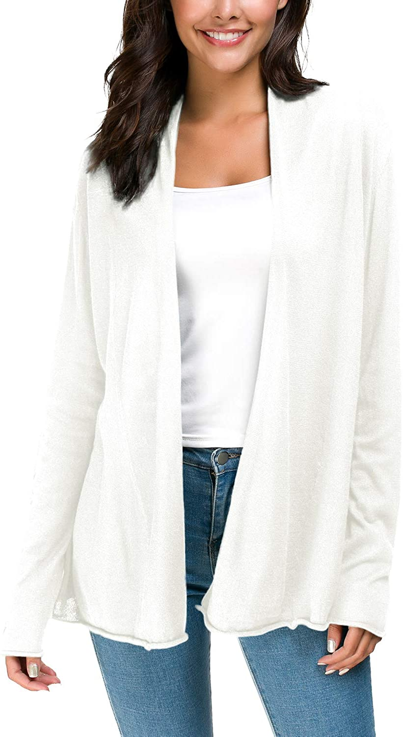 Women's Long Sleeve Open Front Casual Thin Cardigan