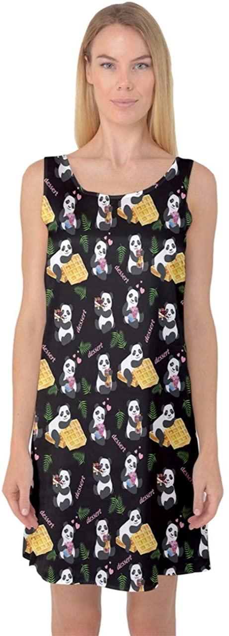 CowCow Womens Sleepwear Satin Pajama Cute Pattern Cartoon Pandas Waffles Florals Kids Sleeveless Satin Nightdress