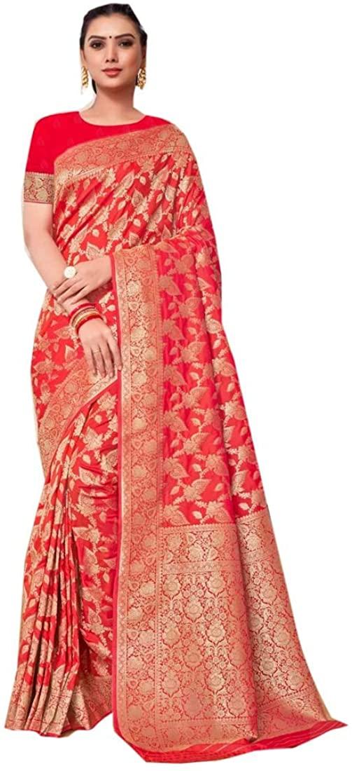 Eid Uljha Party Festival Red Soft Pure Banarasi Silk Indian Saree Sari Blouse Muslim Dress 9892B