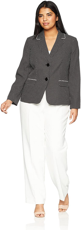 Le Suit Women's Size Plus Novelty Dot 2 Bttn Notch Lapel Pant Suit