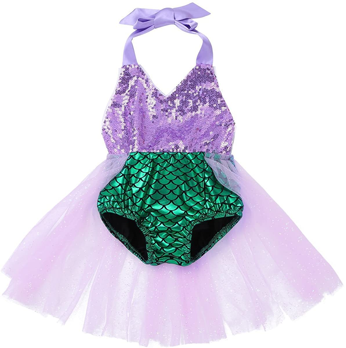 iEFiEL Baby Girls Sequins Mermaid Bodysuit Romper Summer Sunsuit Bathing Suit Outfits with Tulle Skirt