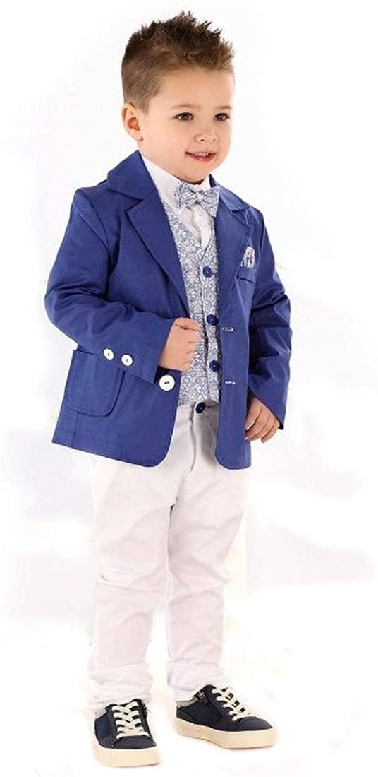 Blue Suit White Shirt for Newborn Boys Jacket Shirt Trousers Vest Set