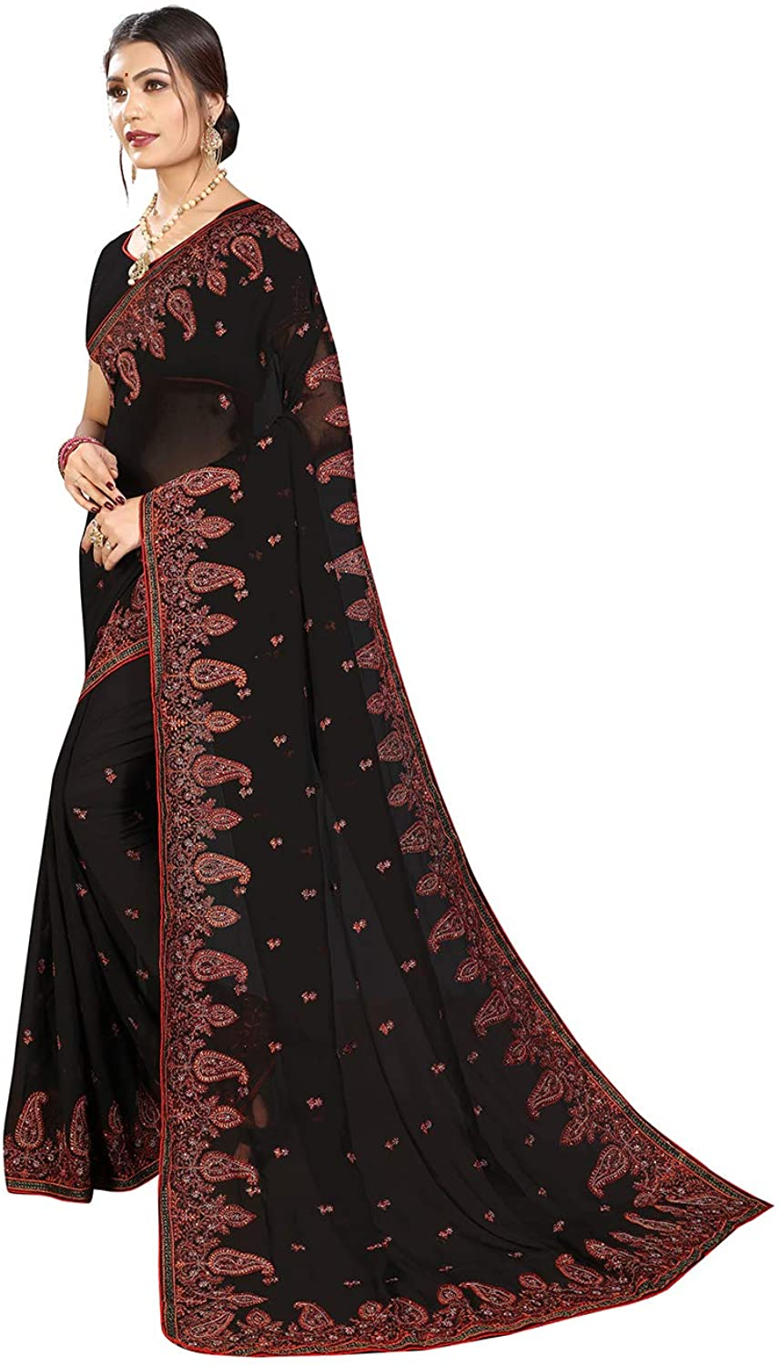 Saree for Women Bollywood Wedding Designer Georgette Sari with Unstitched Blouse. Black