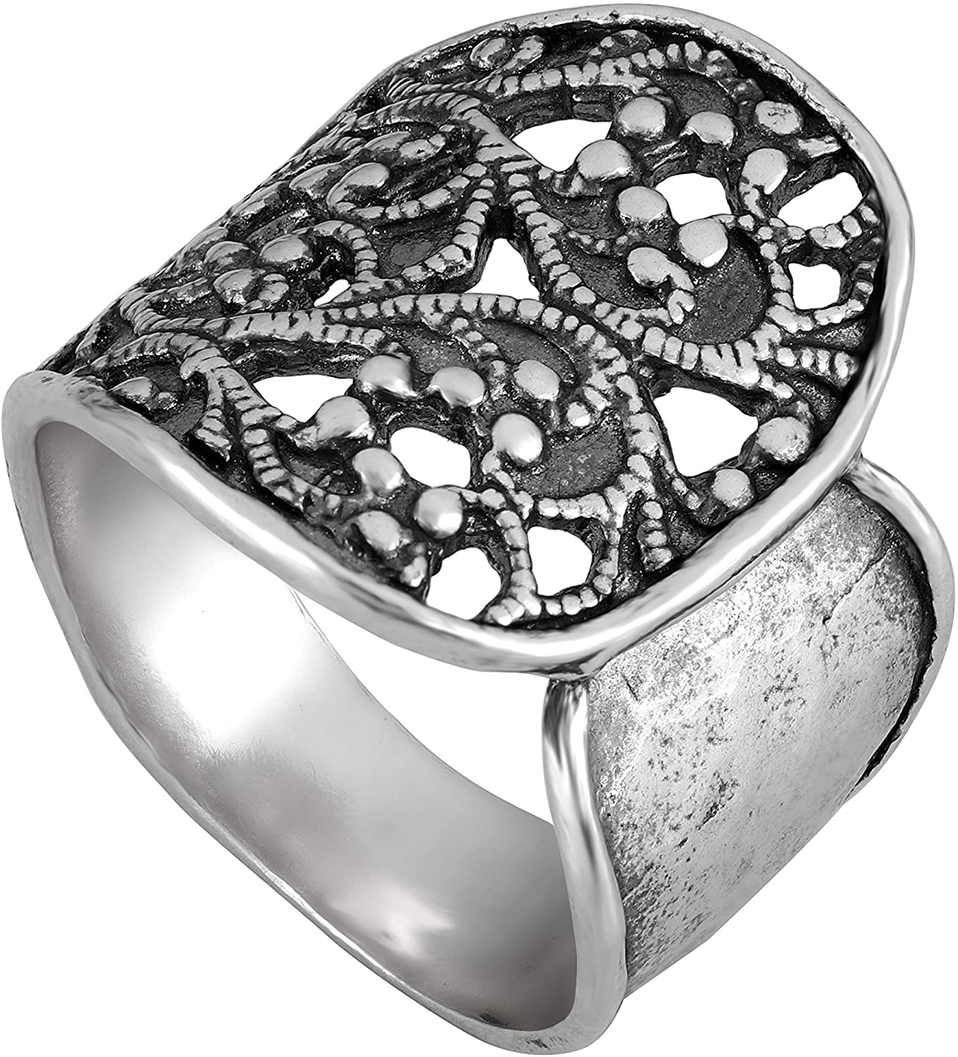 PZ Paz Creations 925 Sterling Silver Lace Textured Wrap Ring