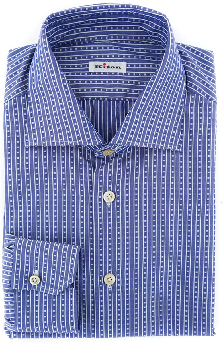 Kiton Stripes Button Down Spread Collar Cotton Slim Fit Dress Shirt