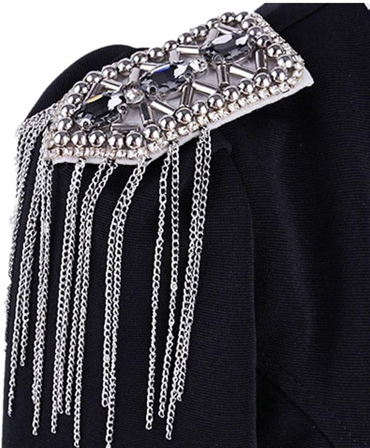 Lyntop Accessories Epaulettes Unisex Fringe Shoulder Pieces Rhinestone Tassel Chain Epaulet Shoulder Boards Badge Uniform Costume Accessories for Men Women