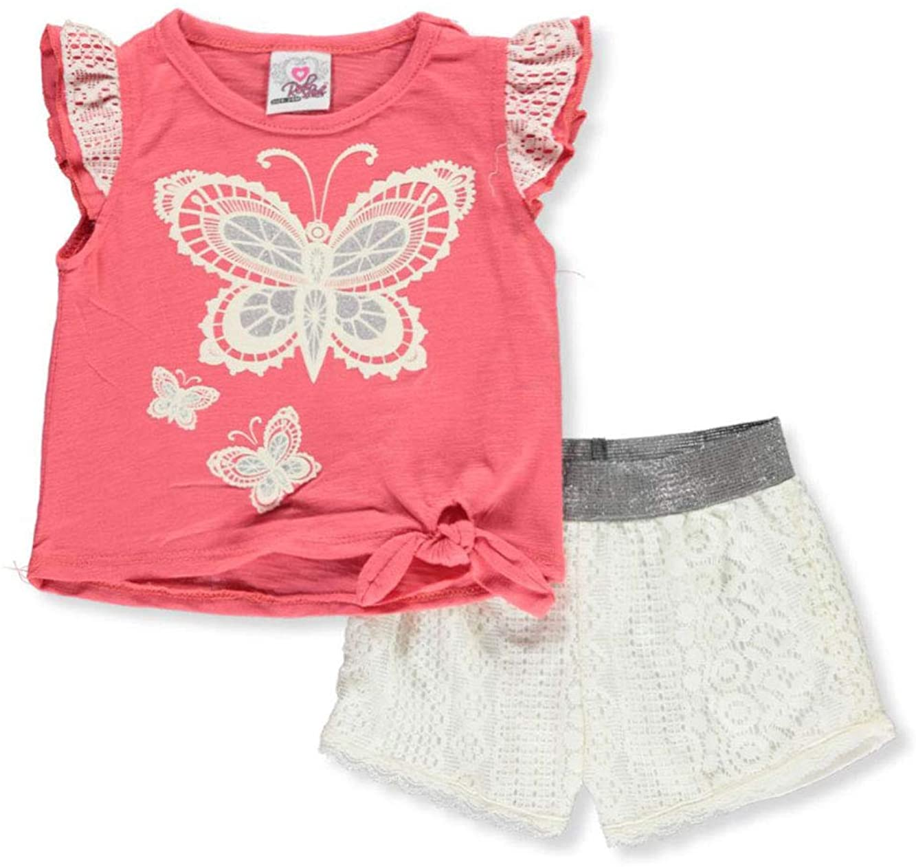 Real Love Baby Girls Butterflies and Lace 2-Piece Shorts Set Outfit