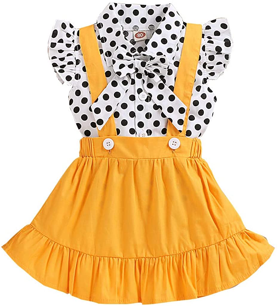 Girls Clothing Set, Toddler Baby Girls Ruffles Fly Sleeve Dot Print Tops+Suspender Skirts Outfits 0-4 Years