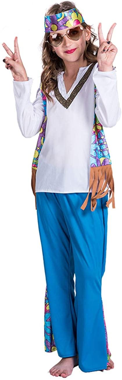 A&J DESIGN Kids Girls Hippie Costume 60's Set Flower Power Peace Love