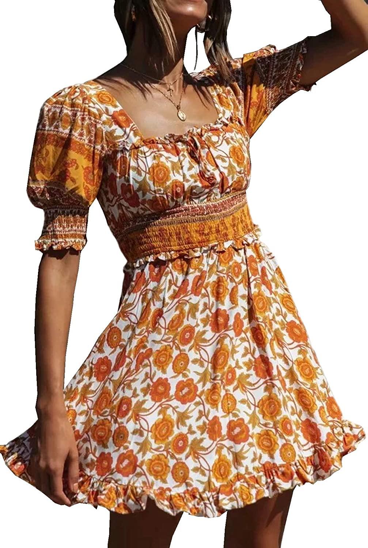 R.Vivimos Womens Summer Short Sleeve Cotton Floral Print Bohemian Mini Dress