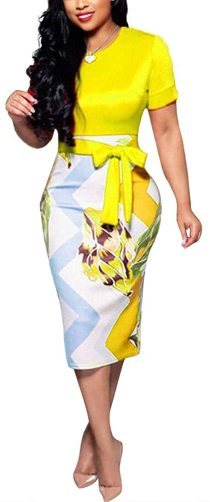 Womens Bodycon Dress Midi Work Casual Floral Prints Pencil Dresses with Belt