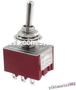 Screw AC 250V 2A 125V 5A ON/ON 2 Position 3PDT Toggle Switch